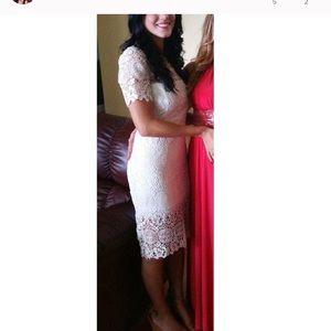 Lulus white midi lace dress